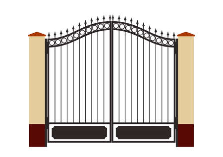 iron fence: Ornate smart forged iron gate-accurate drawing sketch of editable modules