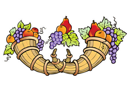 horn of plenty: Abundance of fruit crop-symbol of fertility, prosperity and well-being
