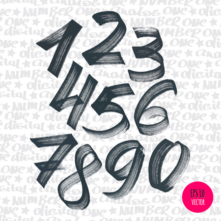Alphabet numbers digital style hand-drawn doodle sketch. Vector illustration. Иллюстрация