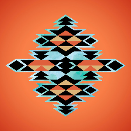 Navajo aztec textiel inspiratie patroon. Native American Indian tribal hand getekende kunst. Stock Illustratie