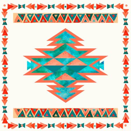 나바호 어 아즈텍 섬유 영감 패턴. 네이티브 아메리칸 인디언 부족의 손으로 그린 된 예술입니다. 일러스트