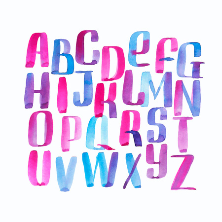 Hand drawn watercolor alphabet made with brush-shades and smears of skies and water at sunset Vettoriali