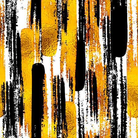 Seamless branchés textures blogue de fond avec de l'or dessiné à la main et à l'encre noire éléments de conception. Vector Eps10 illustration doodle croquis Vecteurs