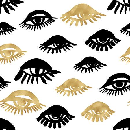 Seamless trendy blog background with handdrawn gold and black ink design elements. Vector Eps10 illustration doodle sketch