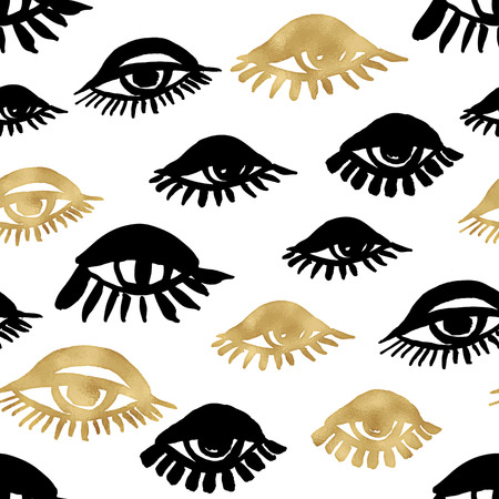 Seamless trendy blog background with handdrawn gold and black ink design elements. Vector Eps10 illustration doodle sketch