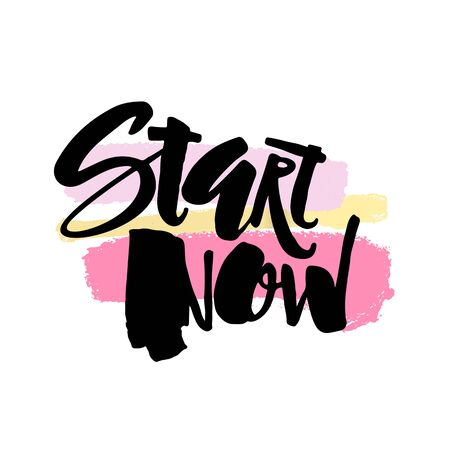 Fresh start now concept hand lettering motivation poster. Artistic modern brush calligraphy design for a , greeting cards, invitations, posters, banners, t-shirts.