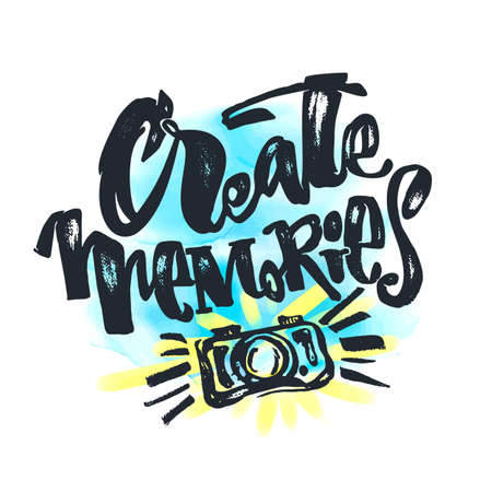 Create Memories concept, inspirational calligraphic lettering quote.Artistic print,handdrawn trendy design with authentic watercolor blotted background for a logo, cards, invitations, posters, banners