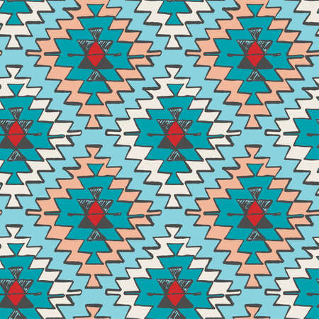 Seamless hand drawn tribal Navajo pattern in doodle style.Dry brush ink artistic print. Hand drawn trendy design  for a logo, cards. Illustration