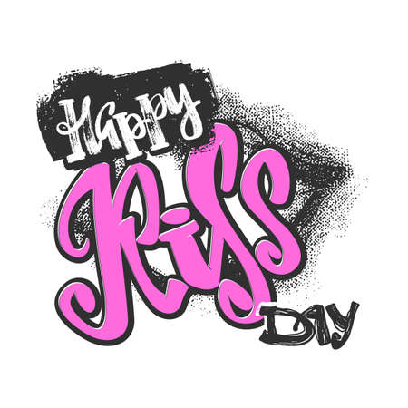 Happy kiss day calligraphic lettering poster.Modern dry brush ink artistic print. Handdrawn trendy design with authentic and unique scrapes, watercolor blotted background. Illustration