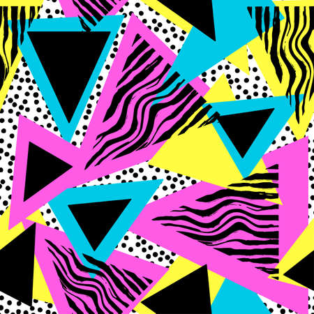Memphis style hand drawn textured seamless pattern.Retro flavour trendy geometric elements painted with colorful ink brush strokes.