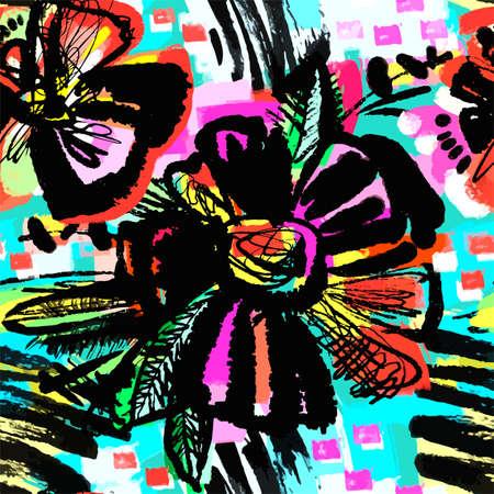 원활한 추상 꽃 잉크 손으로 그려진 된 패턴 .Textile 브러쉬 선 텍스처와 낙서 그런 지 스타일 정통 하 고 고유 한 긁힌 자국, handyrawn 유행 디자인