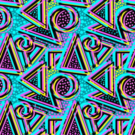 Abstract geometric triangles seamless background.Memphis style neon colors. Stok Fotoğraf - 83125981