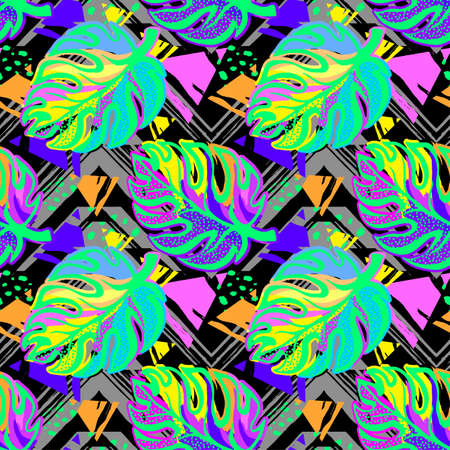 Exotic leaves seamless pattern.Tropical print for summer bright shirts, shirts, swimsuits, beachwear and accessories