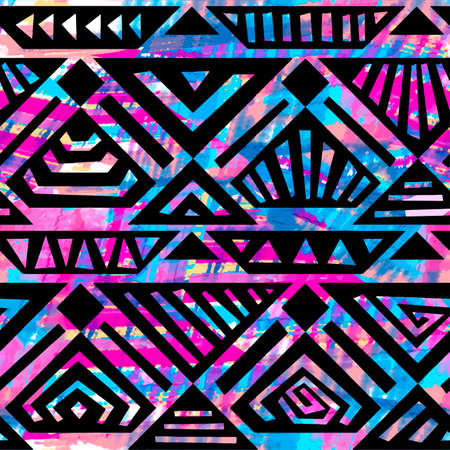 Boho textile seamless pattern. Handdrawn trendy design in tribal style with unique scrapes, watercolor blotted background . Ethnic inspired ink painted geometric print