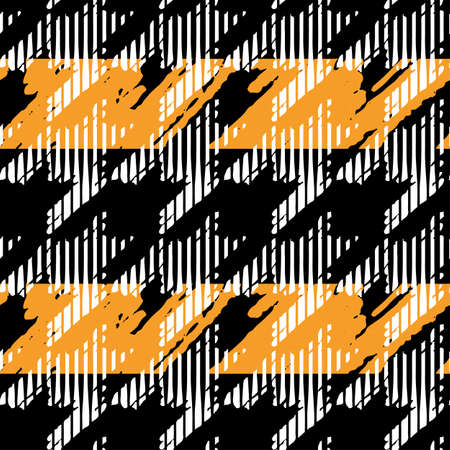 Houndstooth seamless pattern for clothes design.Trendy fabric abstract print with  houndstooth  black set on colorful backdrop Geometric improvisation on a classical motive