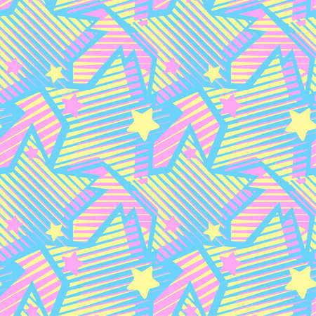 Stars print, seamless hand craft expressive ink  pattern.Funky painted style texture, trendy poster with different doodles for textile,wrapping, decoration   Ilustrace