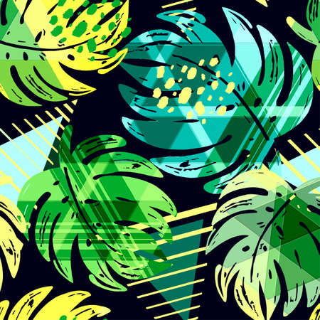 Seamless summer tropical leaves pattern, textile doodle grunge texture.Trendy modern ink artistic design with authentic.