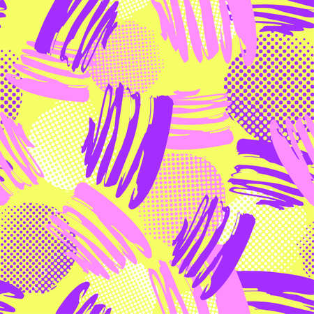 Seamless repeating textile, ink brush strokes pattern in doodle grunge texture style. Hand drawn trendy design, watercolor blotted background.