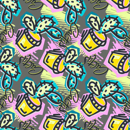 Seamless repeating cactus textile, ink brush strokes pattern in doodle grunge texture style.Handdrawn trendy design, watercolor blotted background for apparel