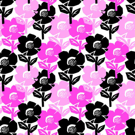 Exotic flowers seamless pattern.Tropical print for summer bright apparel, shirts, swimsuits, beachwear and accessories
