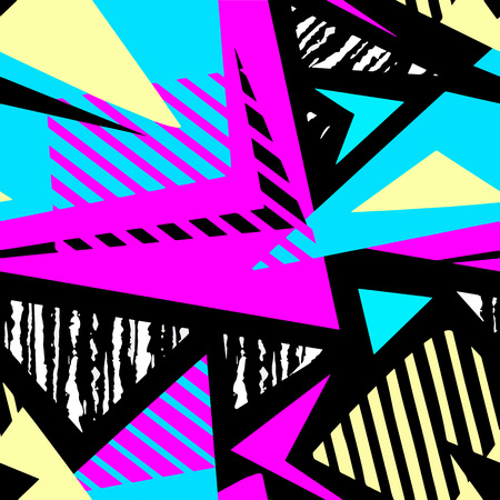 Abstract geometrical seamless rough grunge pattern, modern design template.Hipster painted style texture, poster with different doodle  lines and overlapping brush strokes.Urban bright textiles sample Illustration