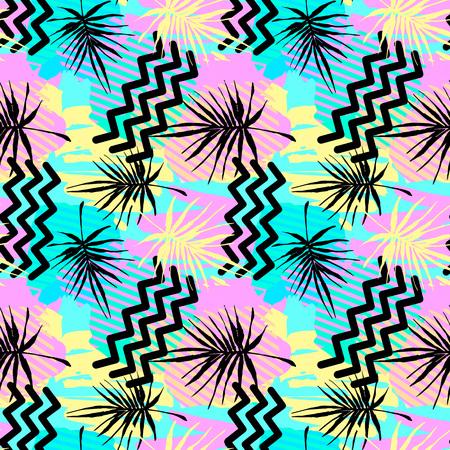 Bezszwowe lato tropikalne liście wzór, tekstylne doodle grunge tekstury. Modny nowoczesny atrament artystyczny projekt z autentycznymi, niepowtarzalnymi zadrapaniami, tło poplamione akwarela, wyraziste malowanie tuszem