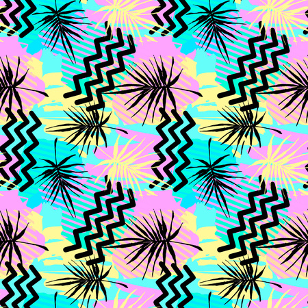 Seamless summer tropical leaves pattern, textile doodle grunge texture.Trendy modern ink artistic design with authentic,unique scrapes, watercolor blotted background, expressive ink painting Ilustração