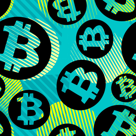 Bitcoin crypto trade seamless pattern.Artistic design with authentic,unique scrapes, watercolour blotted background for a logo, cards, invitations, posters,banners