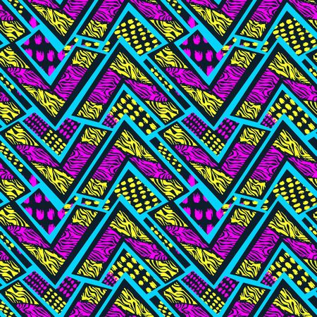 Abstract geometrical seamless rough grunge pattern, modern design template. Hipster hypebeast painted style texture, poster with different doodle elements.Urban bright youth textiles sample