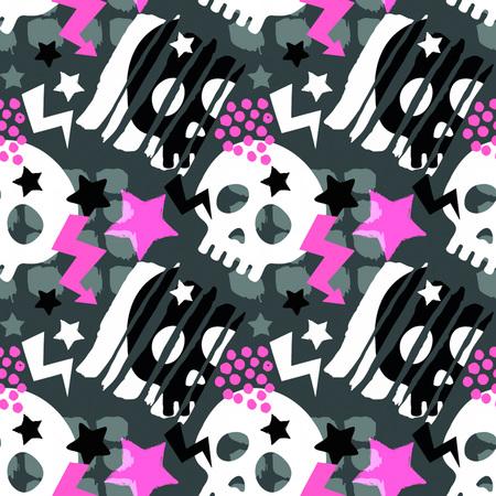 Czaszka funky bezszwowe szorstki wzór grunge, nowoczesny szablon. Hipster modny styl malowany tekstura, plakat z różnymi elementami doodle. Próbka tekstyliów miejskich jasnych młodzieży Ilustracje wektorowe