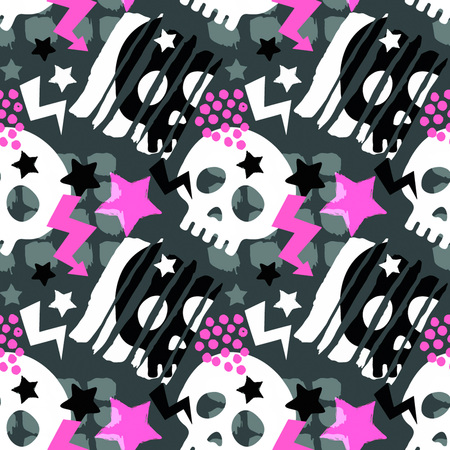 Patrón de grunge áspero inconsútil funky cráneo, plantilla de diseño moderno. Textura de estilo pintado de moda hipster, cartel con diferentes elementos de doodle.Muestra de textiles juveniles brillantes urbanos Ilustración de vector
