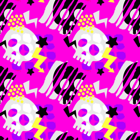 Skull funky seamless rough grunge pattern, modern design template. Hipster trendy painted style texture, poster with different doodle elements.Urban bright youth textiles sample