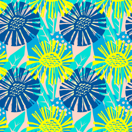 Seamless vector flkoral pattern. Brush pen hand drawn doodle abstract diagonal flower shapes texture.