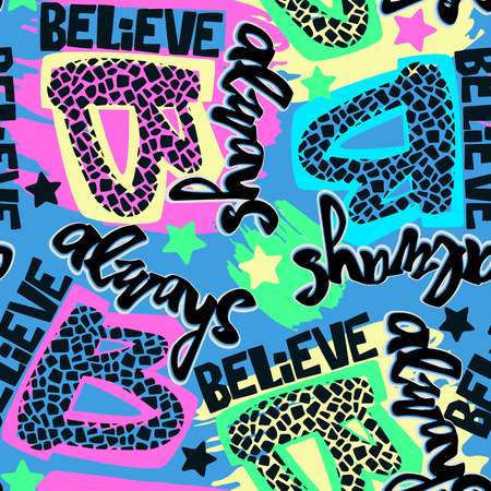 Always Believe hand drawn inspirational lettering.Expressive funky calligraphy ink poster.Handwritten modern brush design for t shirt. Hipster trendy style,urban bright youth textiles sample  イラスト・ベクター素材