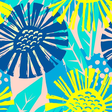 Modèle flkoral vectorielle continue. Stylo pinceau dessiné à la main doodle texture de formes de fleurs diagonales abstraites.
