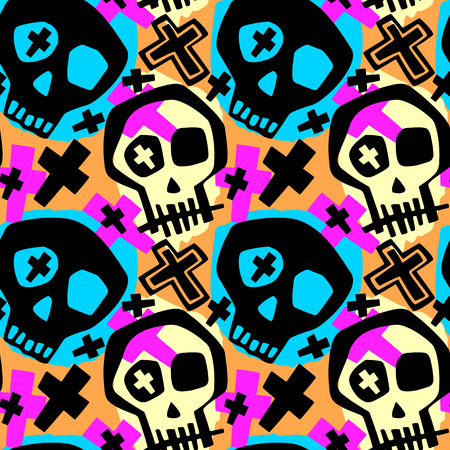 Skull funky boys and girls apparel modern print.Seamless graffiti style painting, halloween background wallpaper