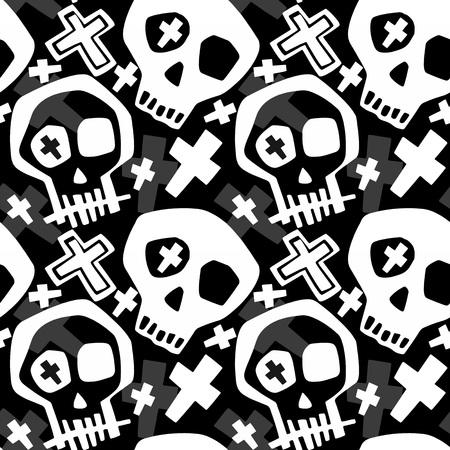 Cráneo funky, ropa para niños y niñas, estampado moderno, pintura de estilo graffiti sin costuras, papel tapiz de fondo de halloween