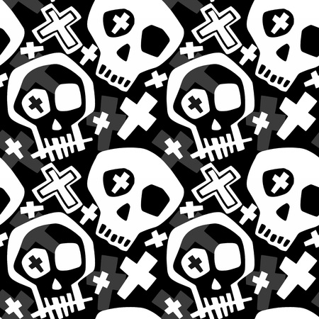 Skull funky boys and girls apparel modern print.Seamless graffiti style painting, halloween background wallpaper Stock fotó - 109649060