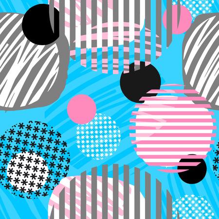 Patrón de círculos geométricos abstractos sin costura, estampado de ropa deportiva, motivo geométrico dinámico brillante juvenil, estilo graffiti de géneros de punto modernos, trajes de baño, leggings