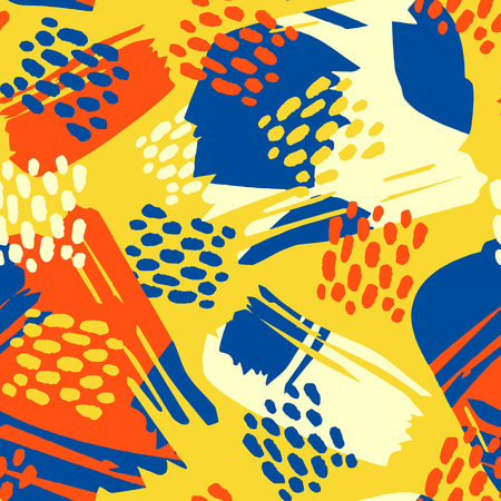 Floral stylized seamless pattern, graffiti acrylic drawing style. Sportswear print, youth seamless bright dynamic geometric motif