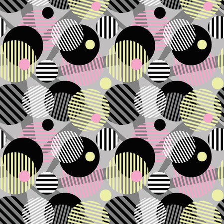 Seamless dotted circles colorful pattern, stripped round shapes.Bright dynamic geometric motif, graffiti style of modern print.