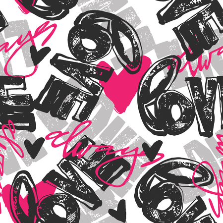 Love graffiti seamless hand lettered text, typographic style print.Valentine's Day greeting card, funky style painted doodles texture for fabric, wrapping,textiles or t-shirt apparel design.