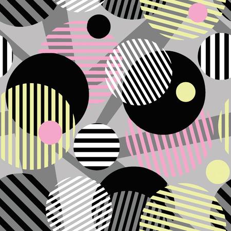 Seamless dotted circles colorful pattern, stripped round shapes.Bright dynamic geometric motif, graffiti style of modern print. Иллюстрация
