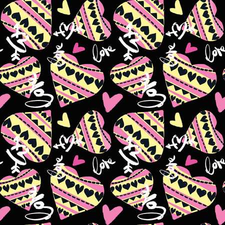 Love seamless girls motivation pattern. Funky t-shirt print with hearts and different doodle elements, trendy painted style texture.Funny wallpaper for textile and fabric.Fashion style apparel design 矢量图像