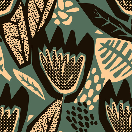 Flowers tracery seamless rough print, modern seamless design template.Geometric curved trendy painted style texture, poster with different doodle elements.Perfect for interior,fabric, textile