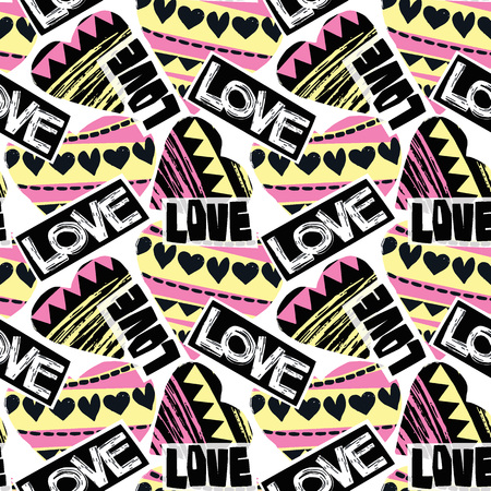 Love seamless girls motivation pattern. Funky t-shirt print with hearts and different doodle elements, trendy painted style texture.Funny wallpaper for textile and fabric.Fashion style apparel design Vectores