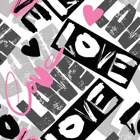 Amo el patrón de motivación de las niñas sin fisuras. Estampado de camiseta funky con corazones y diferentes elementos de doodle, textura de estilo pintado de moda.Fondo de pantalla divertido para textil y tela.Diseño de ropa de estilo de moda