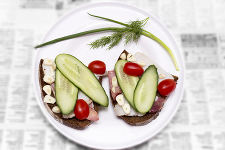 Plate with sliced lard, bread, tomates, cucumber and garlic. Russian traditional cuisine. Best appetizer for vodka. 2 butties on a newspaper. Banco de Imagens