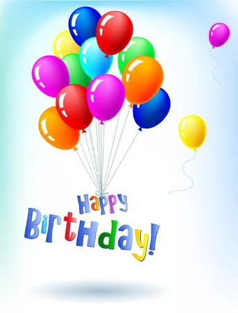 verjaardag frame: Happy Birthday vliegen met ballonnen