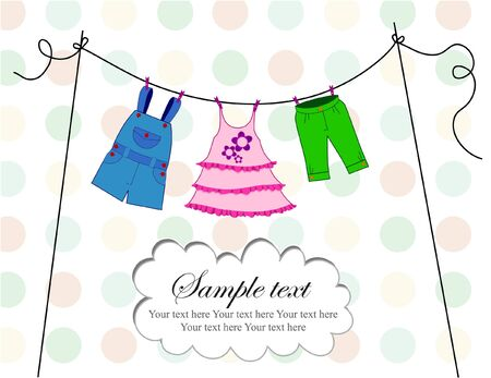 Baby clothes card with dots background and text